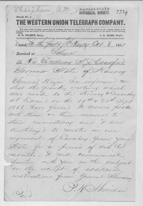 Philip Henry Sheridan to Governor Samuel Johnson Crawford - Page