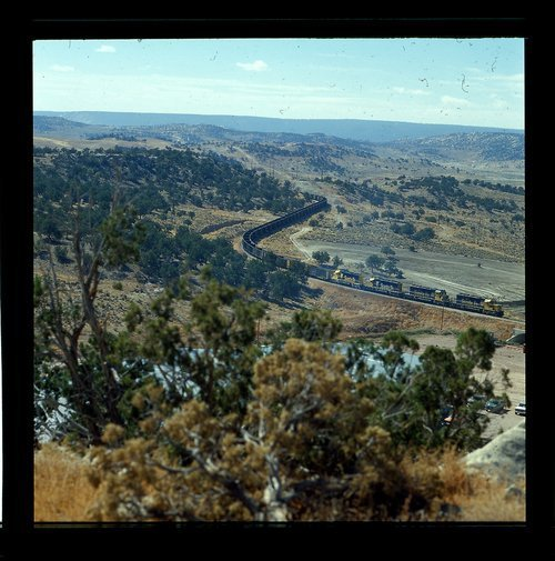 Atchison, Topeka and Santa Fe coal train heading to York Canyon Mine for loading - Page