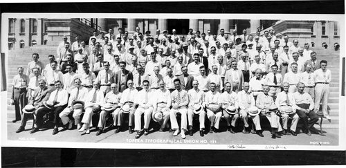 Panoramic group photo of the members of the Topeka Typographical Union No. 121, Topeka, August 4, 1935.