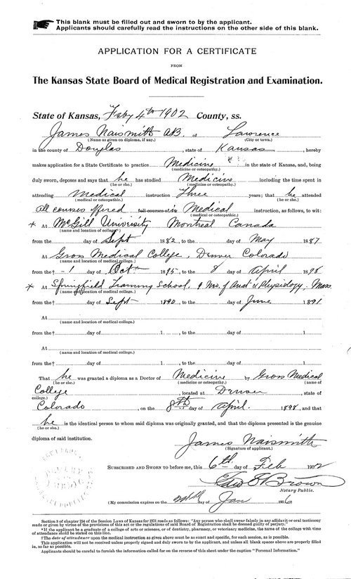 James Naismith's medical license application - Page