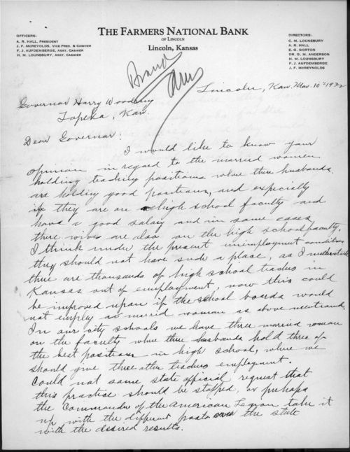 F.J. Aufdemberge to Governor Harry Hines Woodring - Page