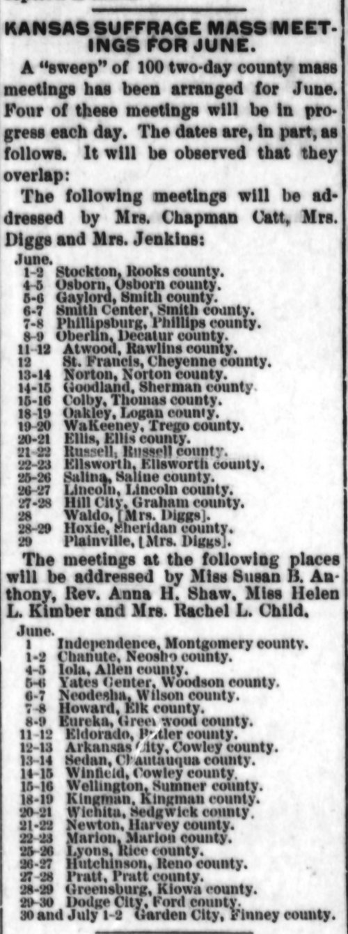 Kansas suffrage mass meetings for June - Page