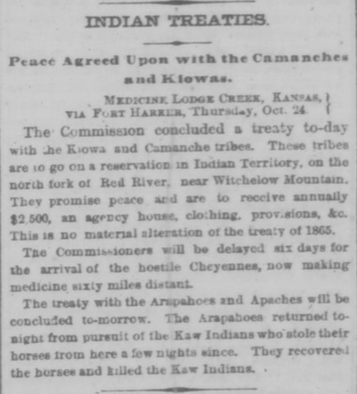 Indian treaties.  Peace agreed upon with the Comanches and Kiowas - Page