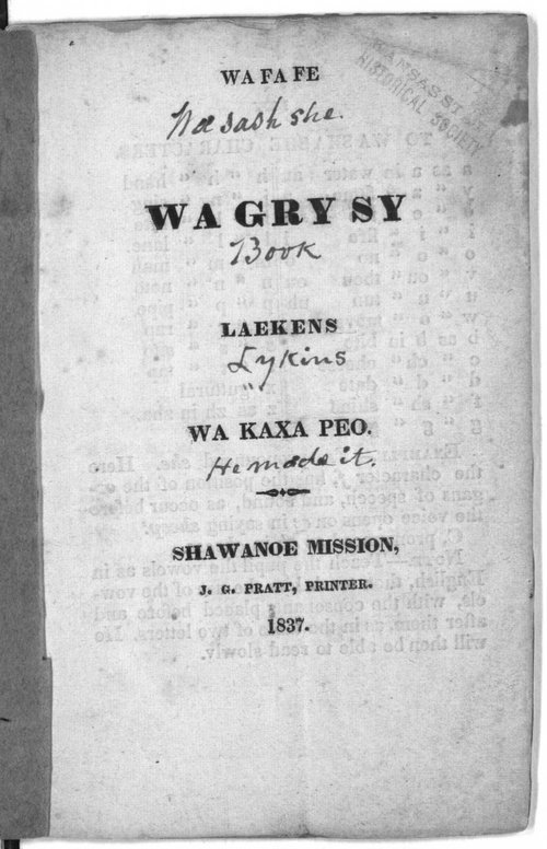 Image of and link to Washashe (Osage) Indian language grammer created by Johnston Lykins and printed at the Shawnee Baptist Mission, 1837