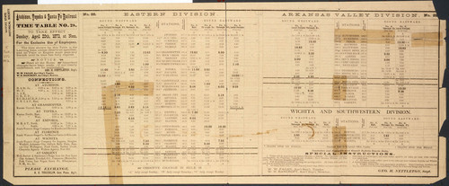 Atchison, Topeka and Santa Fe Railroad time table number 28 - Page