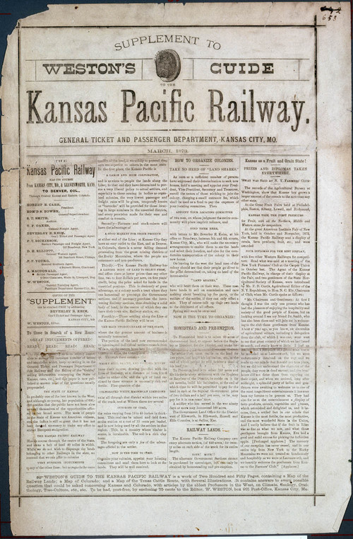 Supplement to Weston's Guide to the Kansas Pacific Railroad - Page