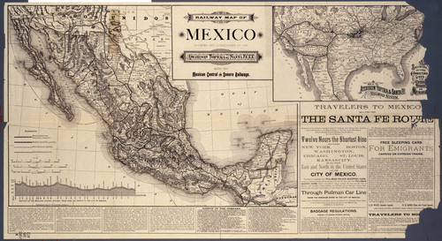 Railway map of Mexico showing connections of the Atchison, Topeka and Santa Fe R. R. with the Mexican Central and Sonora Railways - Page