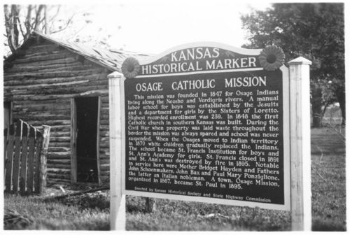 Osage Catholic Mission historical marker, St. Paul, Kansas - Page