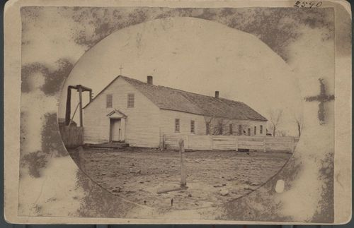 The Catholic Church at the Osage Mission in St. Paul, Kansas between 1865 and 1875