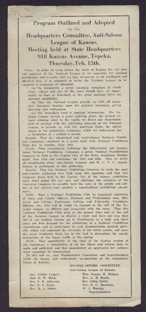 Program outlined and adopted by the Headquarters Committee, Anti -Saloon League of Kansas - Page