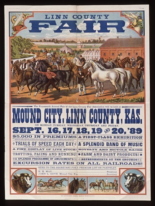 View of a poster for the fourteenth annual fair of the Linn County Fair Association, 1889.