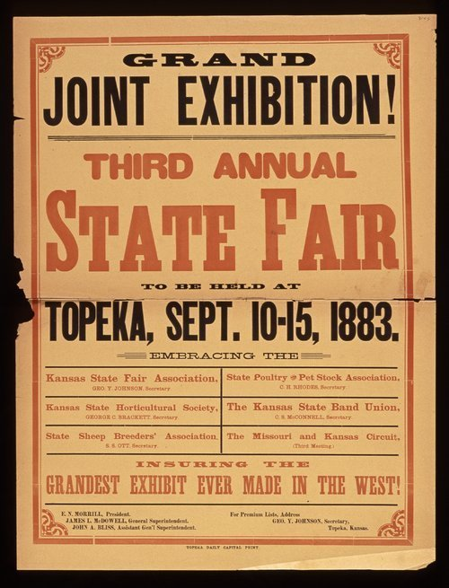 Grand joint exhibition! Third annual state fair, Topeka, Kansas - Page