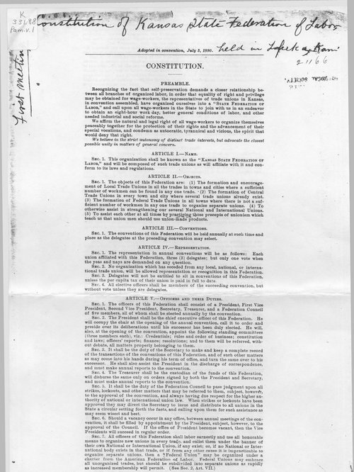 Constitution of the Kansas State Federation of Labor - Page