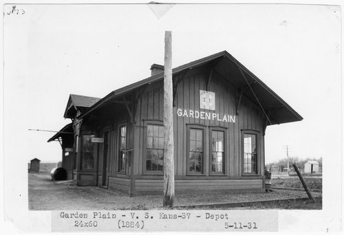 1931 photograph is of the Santa Fe depot built in 1884 at Garden Plain