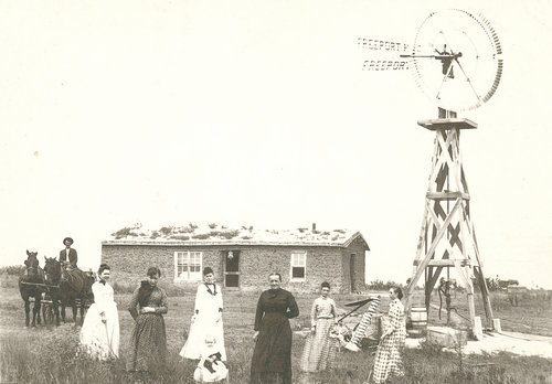 Family with their sod house, Decatur County, Kansas