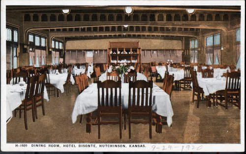 Dining room in Hotel Bisonte, Hutchinson, Kansas - Page