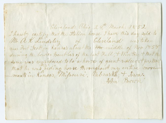 John Brown certificate of authenticity - Page