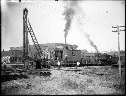 Atchison, Topeka & Santa Fe Railway Company's pile driver, Dodge City, Kansas - Page