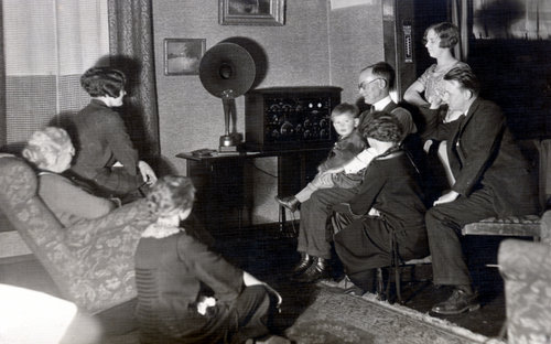 Allen D. Birch and family gathered to listen to radio - Page