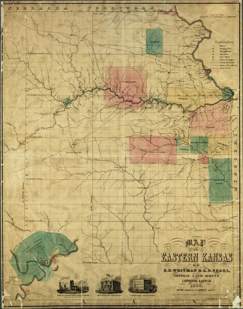 Image of and link to a map of Eastern Kansas by E.B. Whitman and A.D. Searl, General Land Agents, Lawrence, showing Indian boundaries, 1856