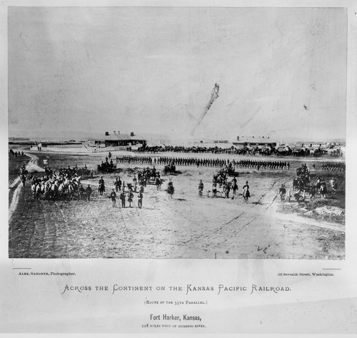 Photo showing U. S. Army troops on the grounds of Fort Harker, Kansas, 1867