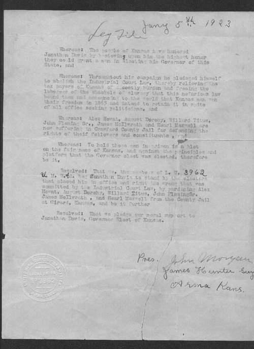 United Mine Workers of America resolution pardoning of Alex Howat - Page