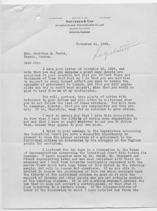 T.A. Noftzger to Governor Jonathan Davis, Court of Industrial Relation - Page