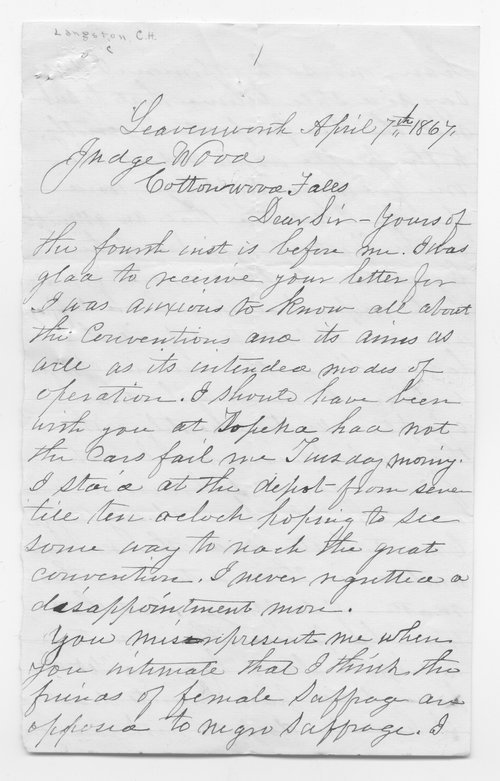 Charles Langston to Samuel Wood - Page
