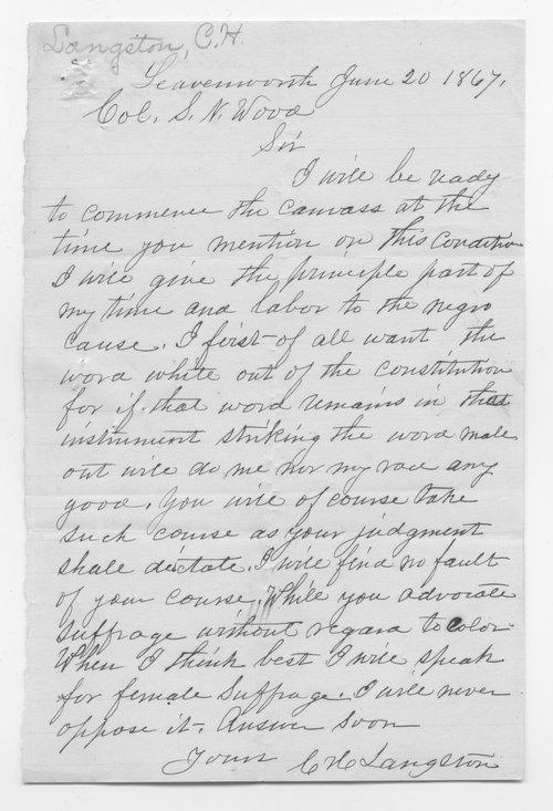 Charles Langston to Samuel Wood - Page