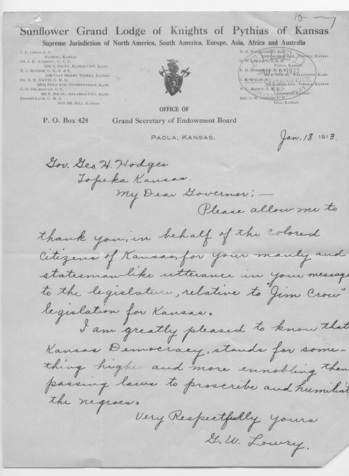 G.W. Lowry to Governor George Hodges - Page
