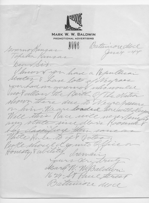Mark W. W. Baldwin to Governor Andrew Schoeppel - Page