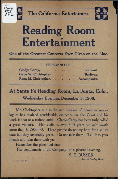 Santa Fe reading room entertainment - Page
