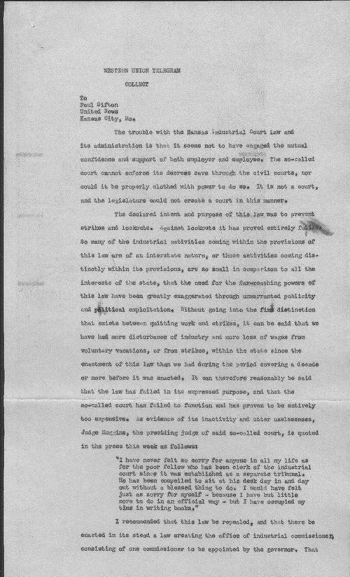 Governor Jonathan Davis to Paul Sifton - Page