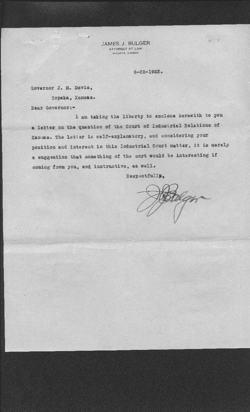J.J. Bulger to Governor Jonathan M. Davis - Page