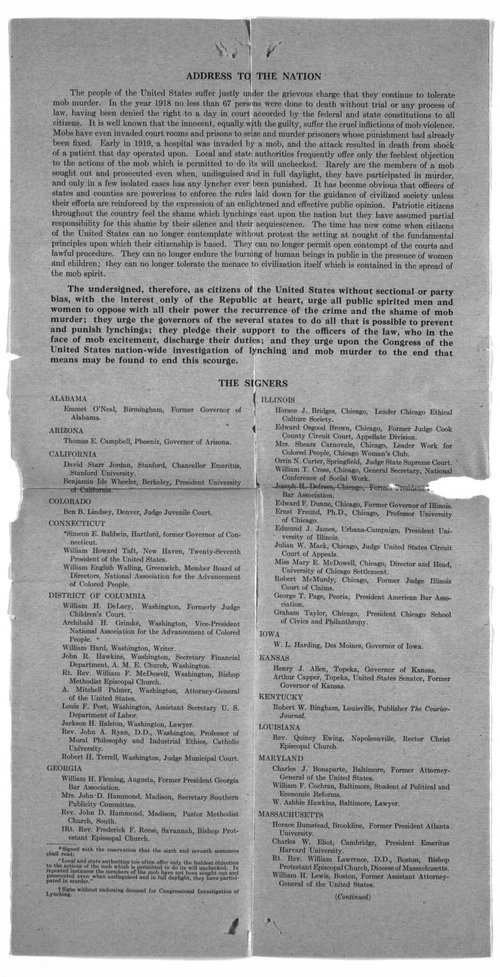 National Association for the Advancement of Colored People to Governor Henry Allen - Page