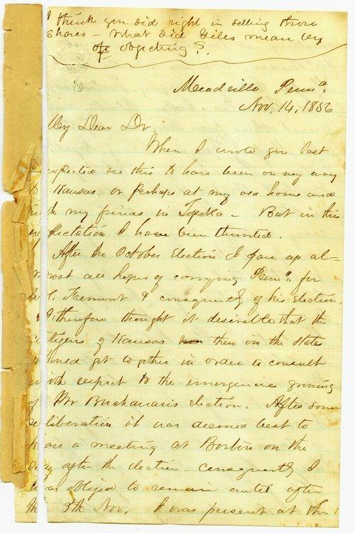 Cyrus K. Holliday to Franklin Crane - Page