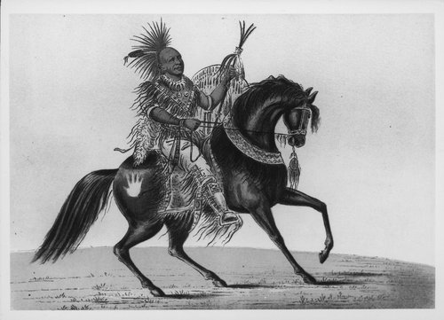 Illustration of Keokuk, a Sac and Fox chief, drawn by the famed artist George Catlin