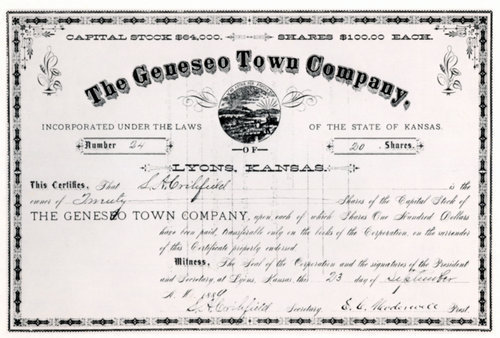 Geneseo Town Company stock certificate - Page