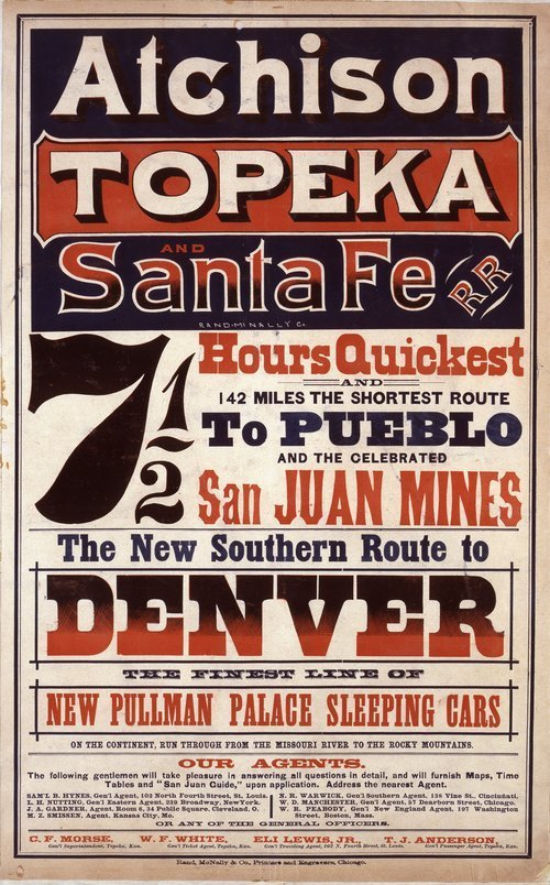 Atchison, Topeka and Santa Fe Railroad.  The new southern route to Denver - Page