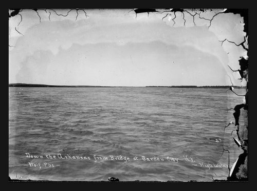Down the Arkansas from the bridge, Garden City, Finney County, Kansas - Page