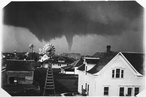Postcard showing a tornado approaching the town of Greensburg, June 1915.