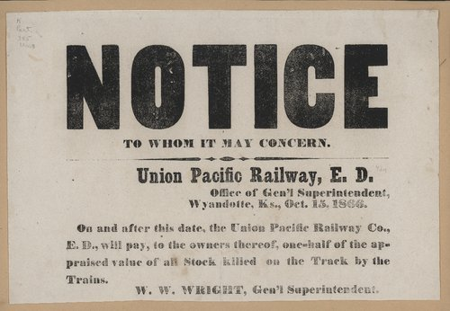 Notice concerning stock killed by the Union Pacific Railway - Page