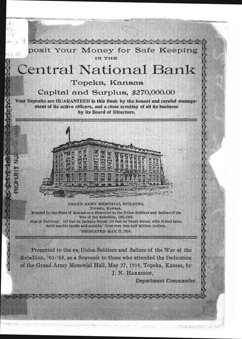 Souvenir to the dedication of the Grand Army Memorial Hall, Topeka, Kansas - Page