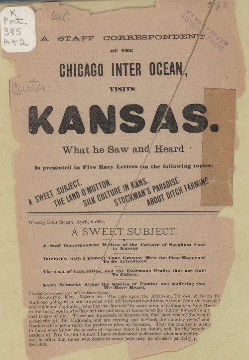 A staff correspondent of the Chicago Inter Ocean, visits Kansas - Page