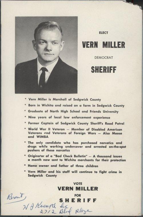 Elect Vern Miller, Democrat sheriff