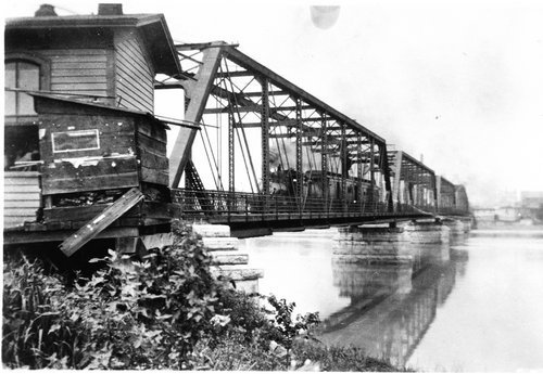 Passenger train crossing the Missouri River, Atchison, Kansas - Page