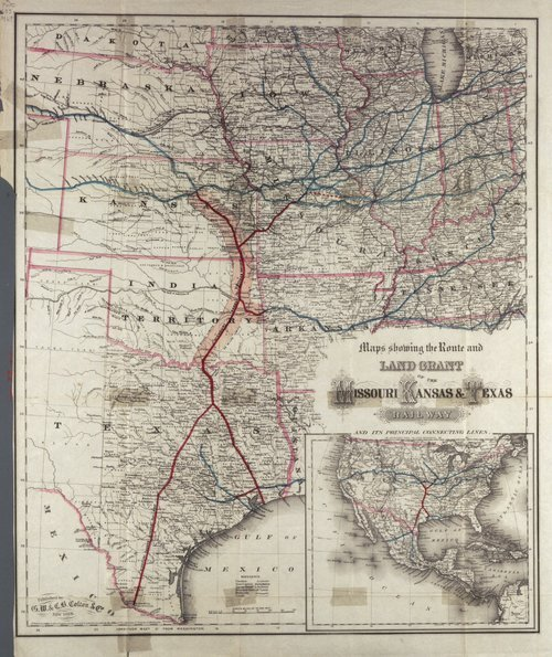 A map of  the route and land grant of the Missouri, Kansas and Texas Railway - Page