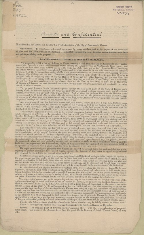 A letter of proposal for the Leavenworth, Topeka and Mexican Railway - Page