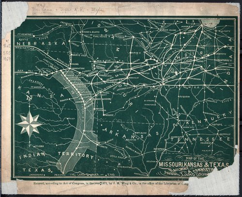 Map of the Missouri, Kansas and Texas Railway showing land grants and connections - Page