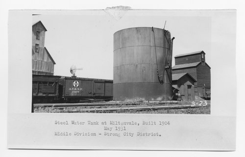 Atchison Topeka & Santa Fe Railway Company water tank and pump house, Miltonvale, Kansas - Page